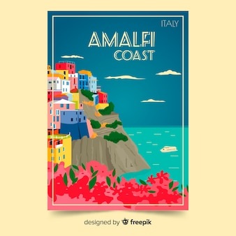 Folleto promocional retro / póster de la plantilla de la costa de ialian