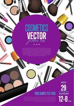 Folleto promocional de vector de cosméticos con fecha y hora