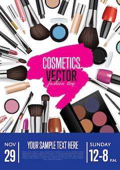 Folleto promocional de vector de cosméticos o plantilla de póster con fecha y hora