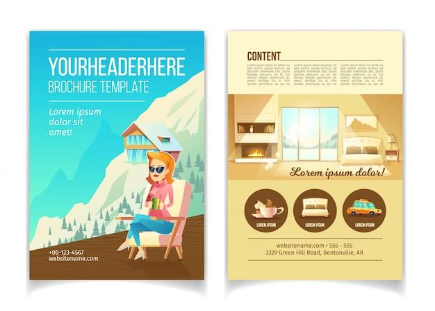 Folleto de publicidad del vector de la historieta del hotel de lujo de la estación de esquí, plantilla del folleto del promo. mujer sentada i