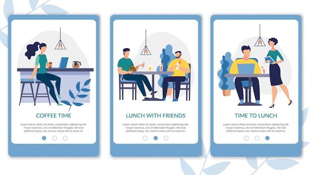 Folleto publicitario es escrito a la hora del almuerzo de dibujos animados.