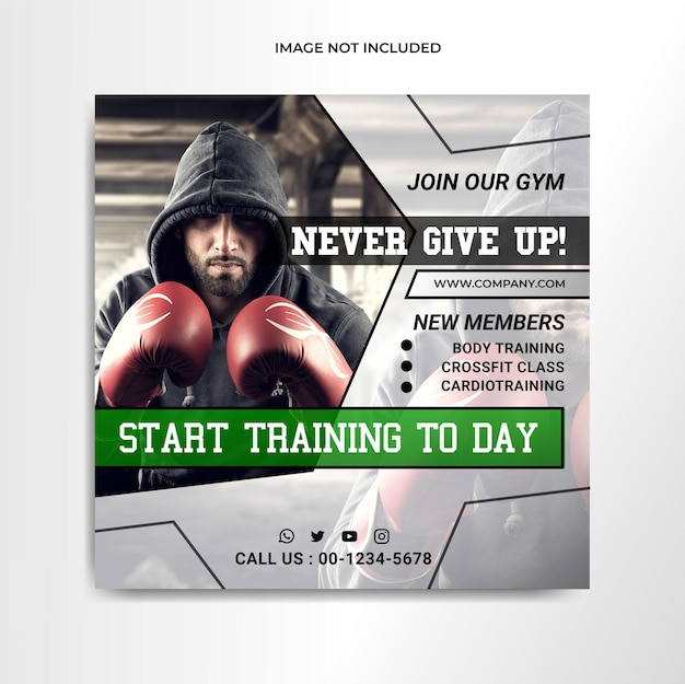 Folleto de redes sociales de gimnasio y fitness o plantilla de banner con maqueta transparente