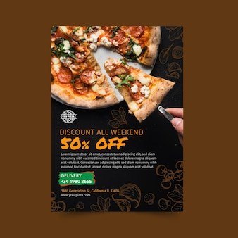 Folleto de restaurante de pizza vertical
