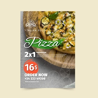 Folleto de restaurante de pizza vertical