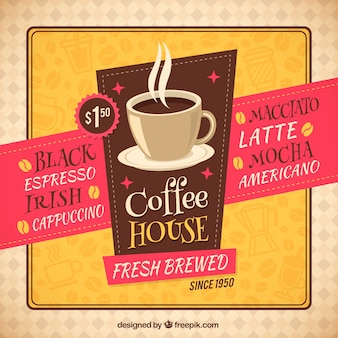 Folleto retro cafetería