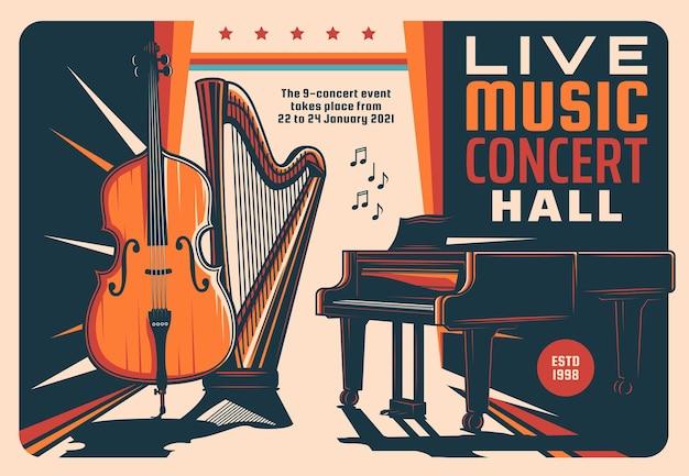 Folleto de sala de conciertos de música en vivo con violín, arpa, piano de cola y notas