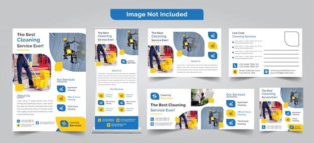 Folleto de servicio de limpieza, postal, banner enrollable, banner de instagram y diseño de portada de facebook