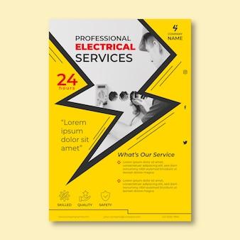 Folleto de servicios eléctricos con foto