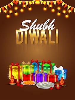 Folleto de shubh diwali y tarjeta de felicitación con paquete de regalos