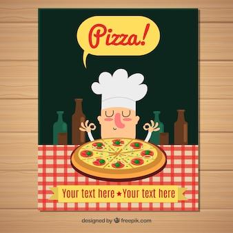 Folleto simpático de chef con pizza