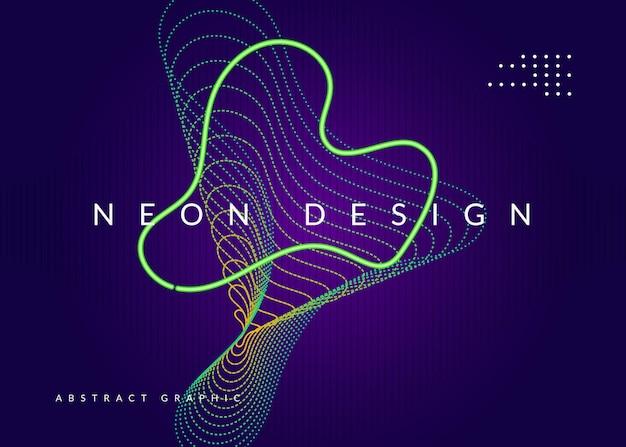 Folleto de sonido. diseño de portada genial. forma y línea fluidas dinámicas. folleto de sonido de neón.
