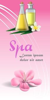 Folleto de spa con flor rosa, flor blanca tropical y aceite de masaje