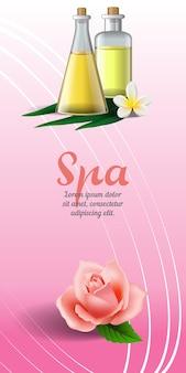 Folleto de spa con rosa, flor tropical blanca y aceite de masaje sobre fondo rosa.