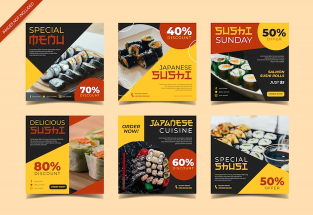Folleto de sushi o colección de publicaciones de instagram