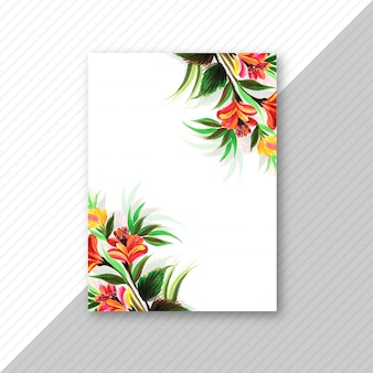 Folleto de tarjeta de invitación de boda flor decorativa
