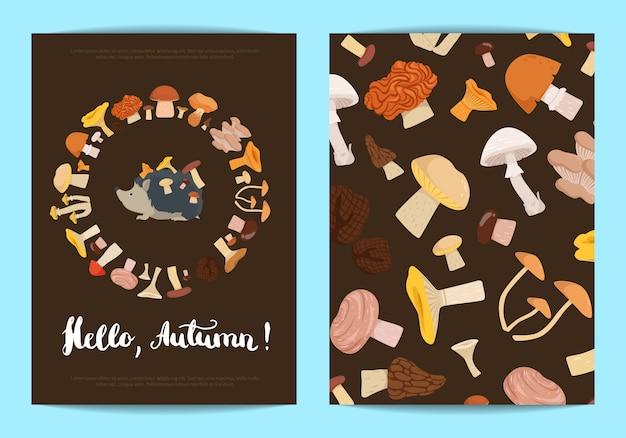 Folleto de la tarjeta con setas de dibujos animados