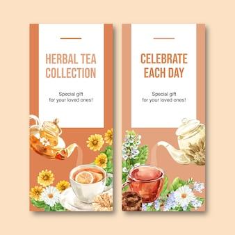 Folleto de té de hierbas con manzanilla, menta ilustración acuarela.