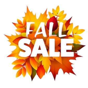 Folleto de temporada de venta de otoño con racimo de hojas