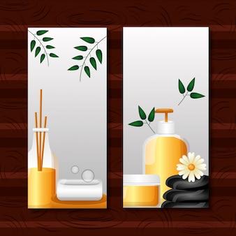 Folleto de terapia de tratamiento de spa o tarjeta publicitaria