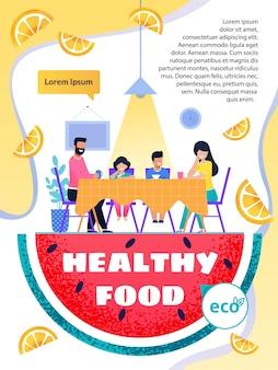 Folleto de texto sobre promoción de alimentos saludables y estilo de vida