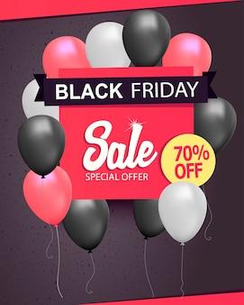 Folleto de la tienda de venta de viernes negro, fondo con cartel de venta de manojo de globos de helio, plantilla de banner de descuento realista.