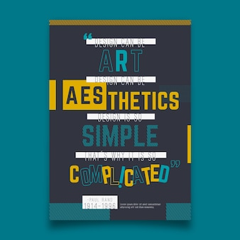 Folleto tipográfico de citas famosas de diseño