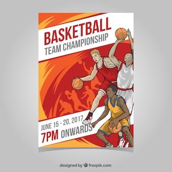 Folleto de torneo de baloncesto con jugadores