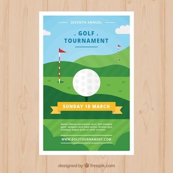 Folleto de torneo de golf en estilo plano