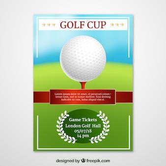 Folleto de torneo de golf en estilo realista