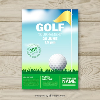 Folleto de torneo de golf con pelota