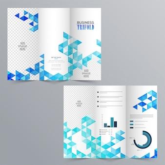Folleto tri-pliegue del negocio creativo con el diseño geométrico abstracto azul, los elementos infográficos y el espacio para agregar sus imágenes.