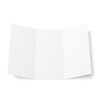 Folleto tríptico blanco en blanco abierto