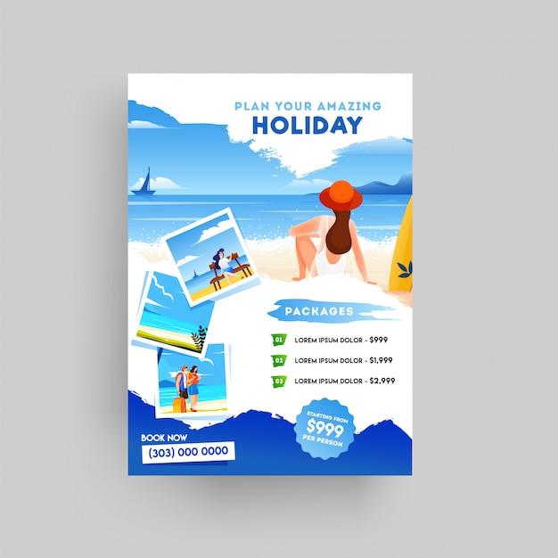 Folleto de vacaciones, viajes de verano y turismo.