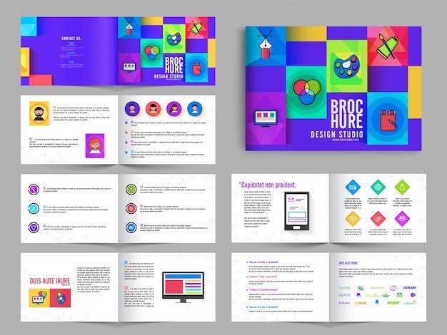 Folleto de varias páginas, paquete de diseño folleto con color púrpura para estudio de arte