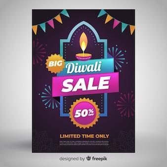 Folleto de venta de diwali de formas geométricas y guirnaldas
