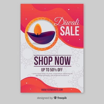 Folleto de venta de diwali plano con descuento