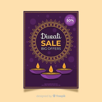 Folleto de venta de diwali plano con velas