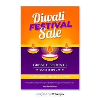 Folleto de venta del festival de diwali con velas