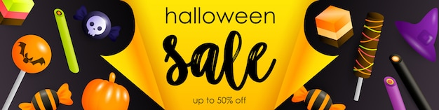 Folleto de venta de halloween con dulces festivos