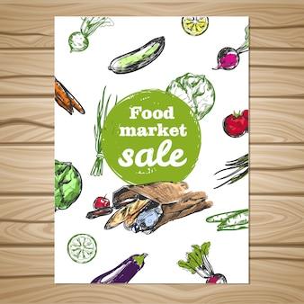 Folleto de venta de mercado de alimentos dibujados