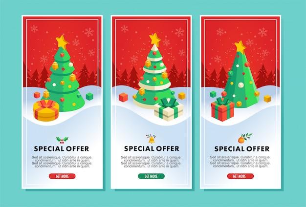 Folleto de venta de navidad o ilustración de vector de banner con ilustración de árbol de navidad y regalo