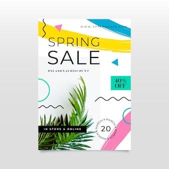Folleto de venta de primavera de diseño plano con foto