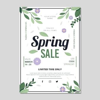 Folleto de venta de primavera de diseño plano con hojas