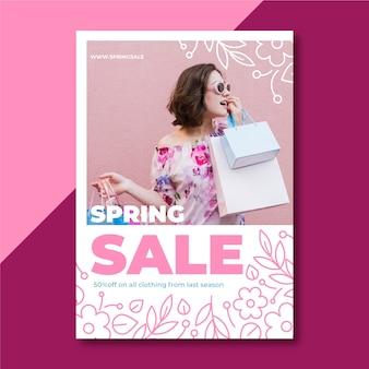 Folleto de venta de primavera con foto