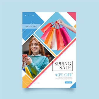 Folleto de venta de primavera con plantilla de imagen