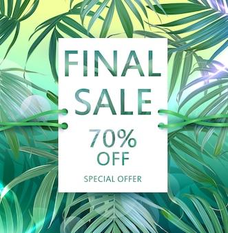 Folleto de venta de vector con hojas de palmeras tropicales.