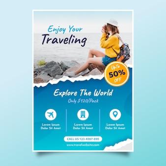 Folleto de venta de viajes con foto)