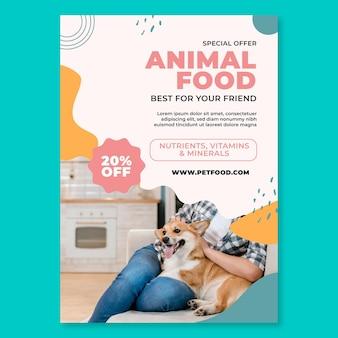 Folleto vertical de alimentos para animales