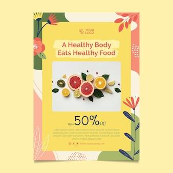 Folleto vertical de alimentos bio y saludables.