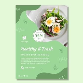 Folleto vertical de alimentos saludables y bio
